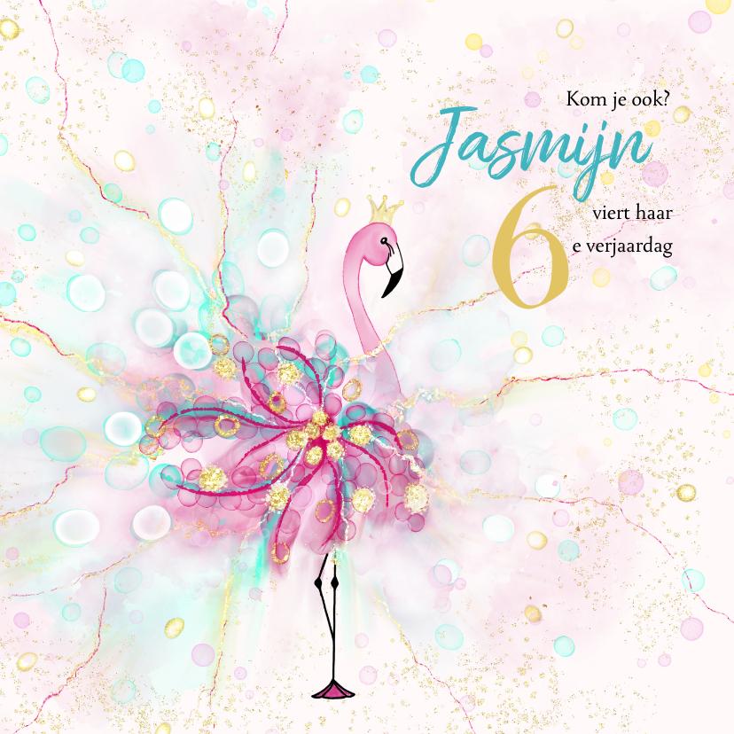 Kinderfeestjes - Uitnodiging met flamingo met confetti