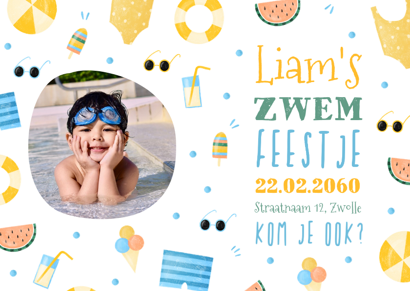 Kinderfeestjes - Uitnodiging met foto zomer zwemfeestje tropisch