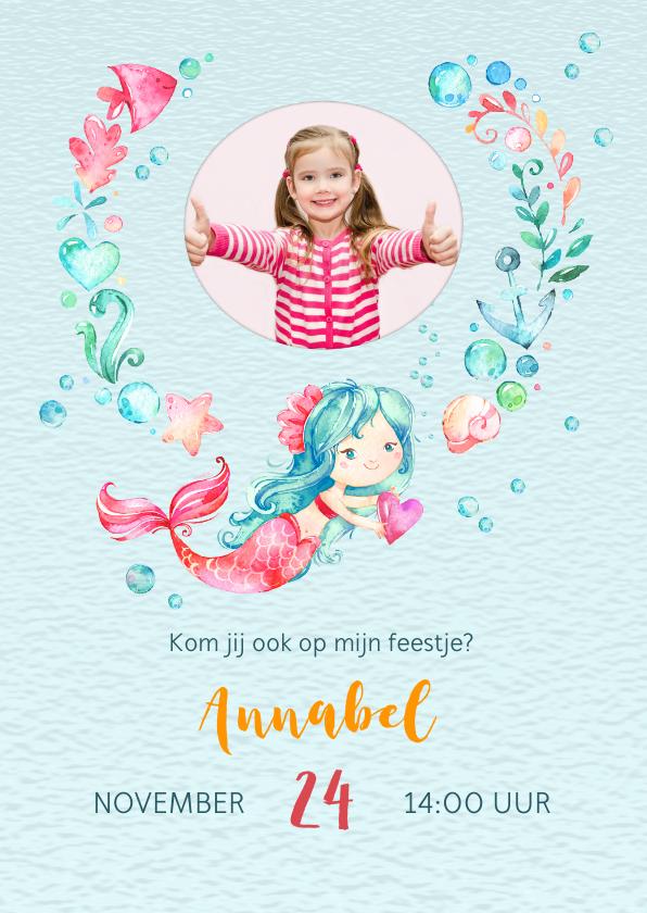 Kinderfeestjes - Uitnodiging met zeemeermin + eigen foto