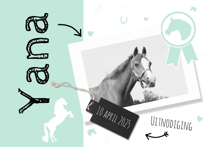 Kinderfeestjes - Uitnodiging paardenfeestje mint