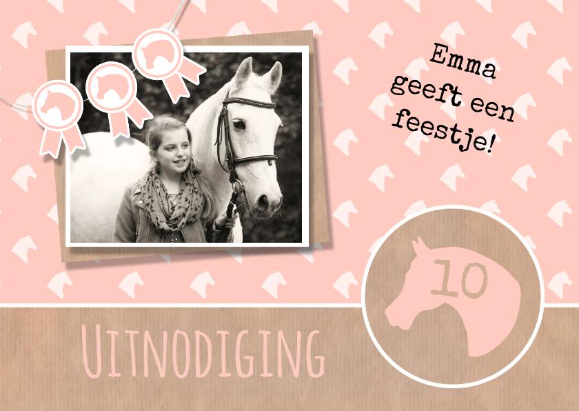 Kinderfeestjes - Uitnodiging paardenfeestje rozet