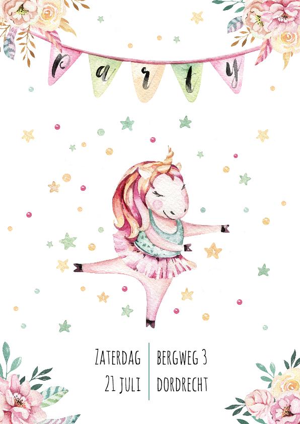 Kinderfeestjes - Uitnodiging party met eenhoorn