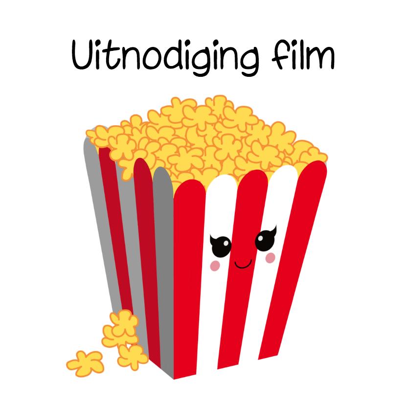 Kinderfeestjes - Uitnodiging popcorn kaart