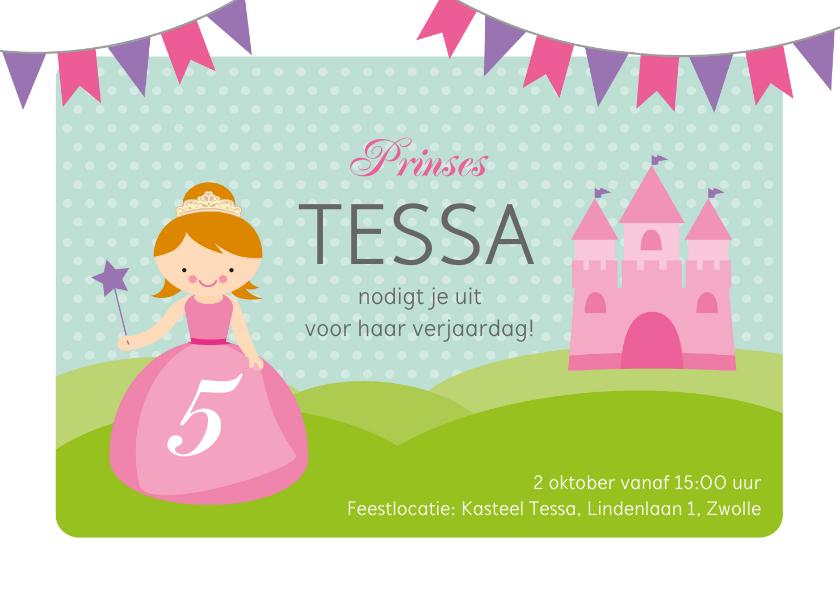 Kinderfeestjes - Uitnodiging prinsessenfeestje prinses met kasteel