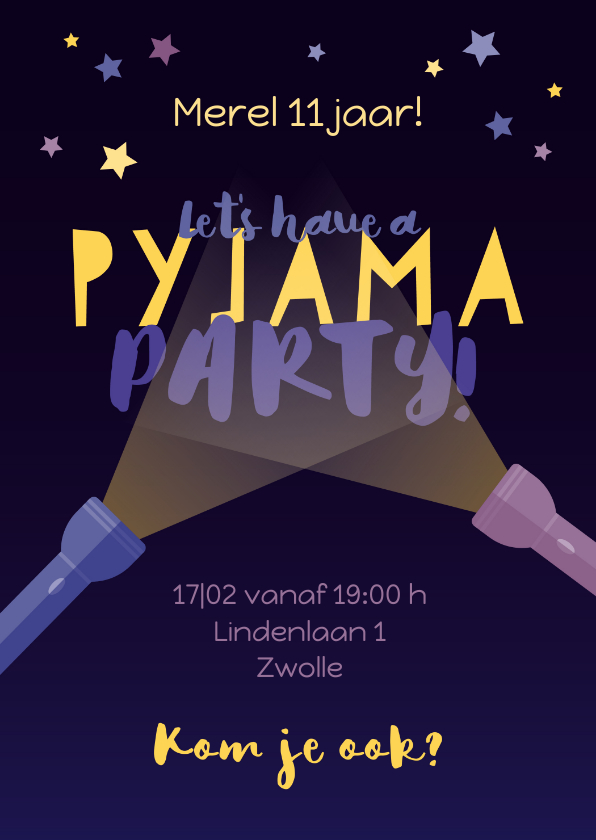 Kinderfeestjes - Uitnodiging slaapfeestje pyjamaparty