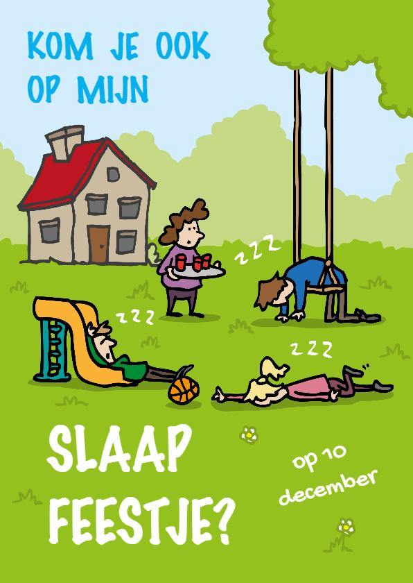 Kinderfeestjes - Uitnodiging Slaapfeestje Slapend in de tuin