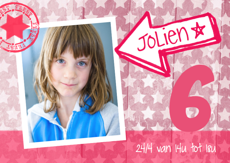 Kinderfeestjes - Uitnodiging ster foto Jolien