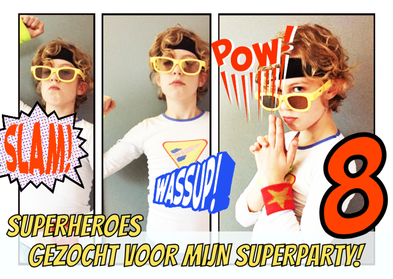 Kinderfeestjes - Uitnodiging strip superheroes