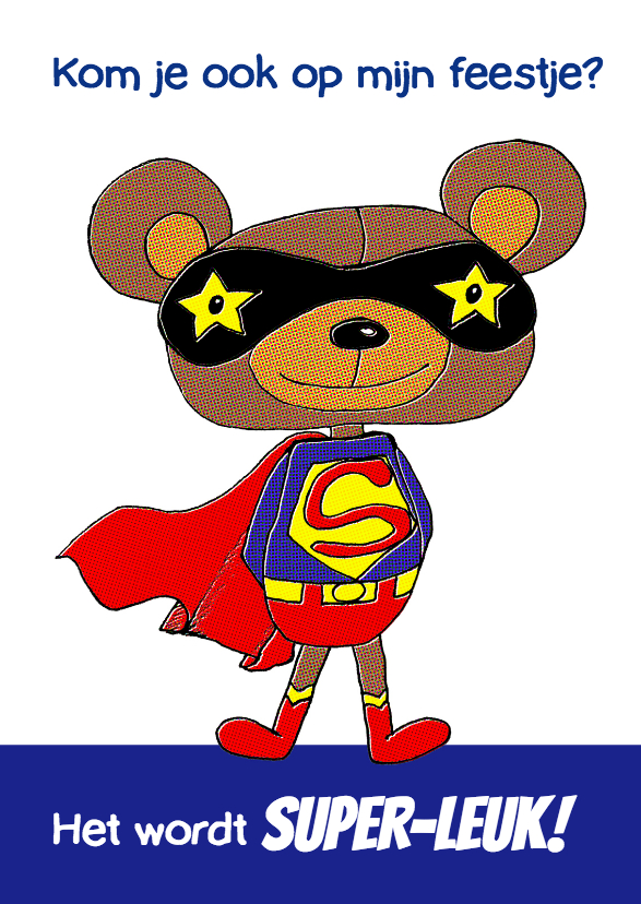 Kinderfeestjes - Uitnodiging superbeer blauw-HR