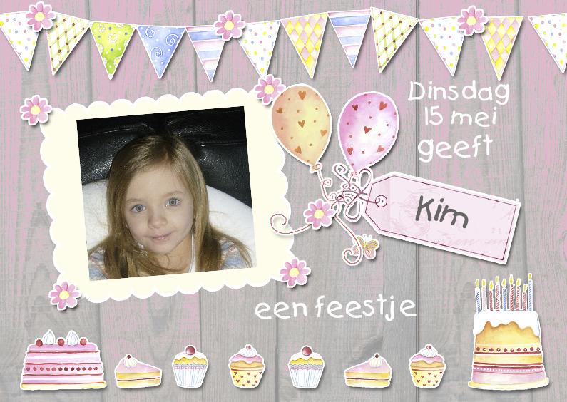 Kinderfeestjes - Uitnodiging taartjes ballonnen