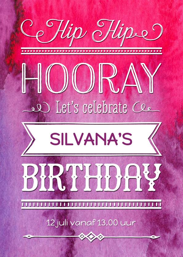 Kinderfeestjes - Uitnodiging verjaardag inkt pink - OT