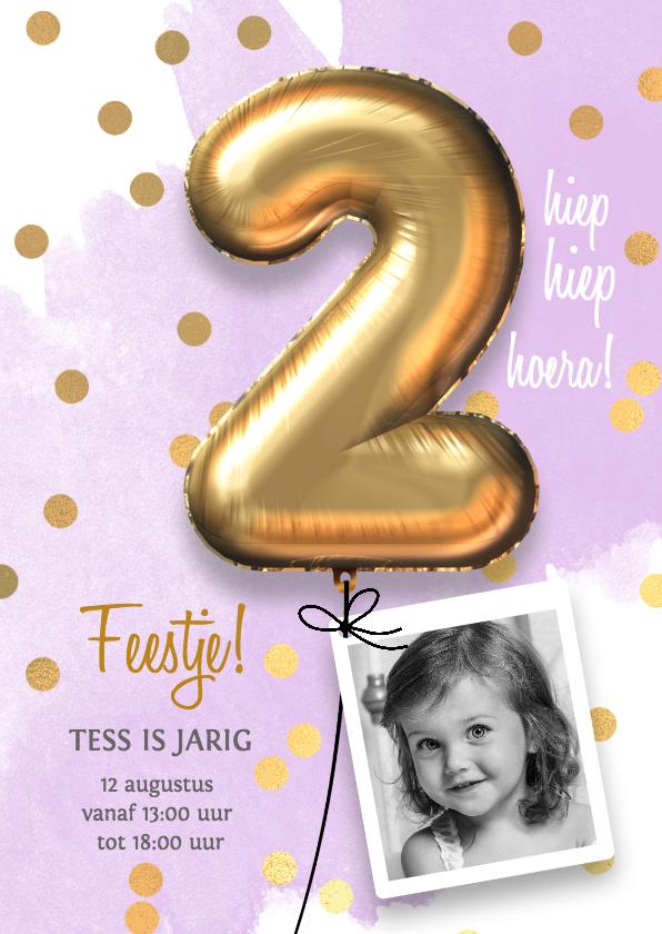 Kinderfeestjes - Uitnodiging verjaardag meisje 2 jaar
