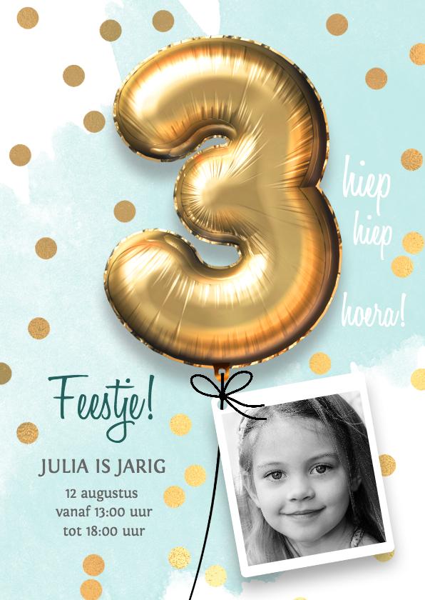 Kinderfeestjes - Uitnodiging verjaardag meisje 3 jaar