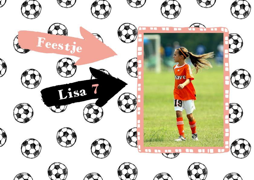 Kinderfeestjes - Uitnodiging voetbal feestje meisje