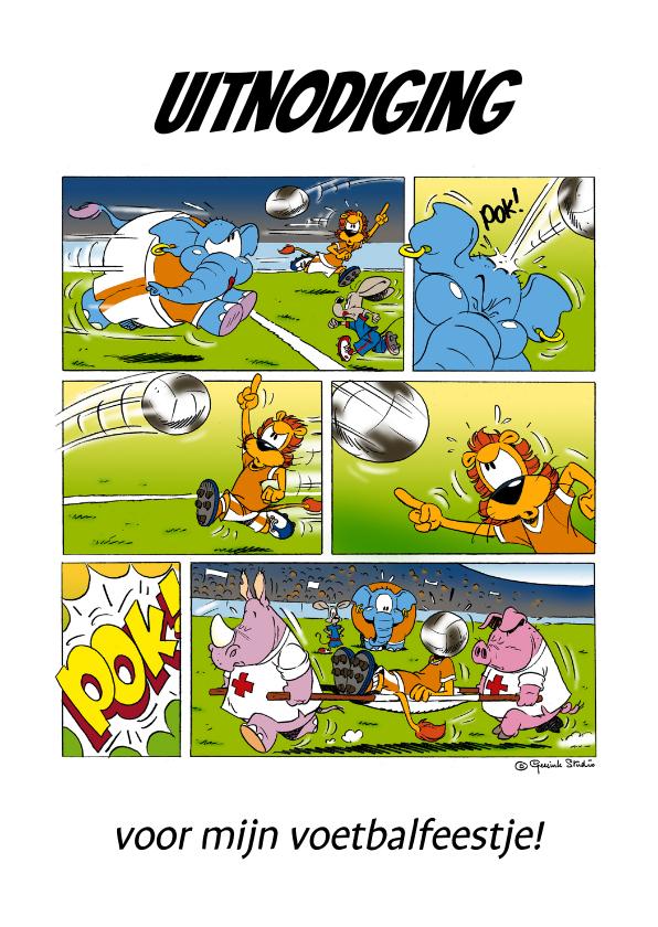Kinderfeestjes - Uitnodiging voetbalfeest strip - A