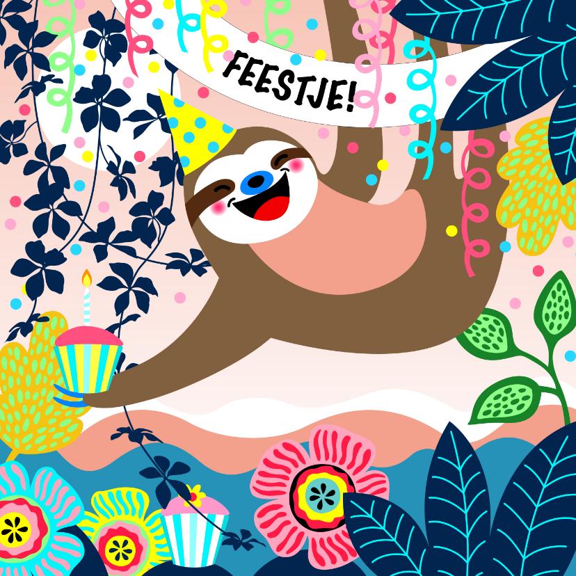 Kinderfeestjes - Uitnodiging voor een kinderfeestje met een luiaard