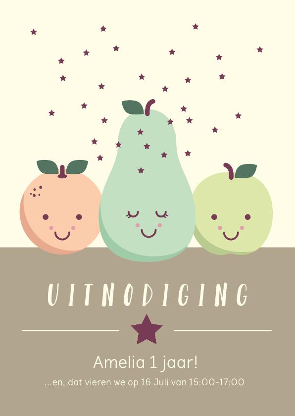 Kinderfeestjes - Uitnodiging voor een kinderfeestje met lief fruit met oogjes