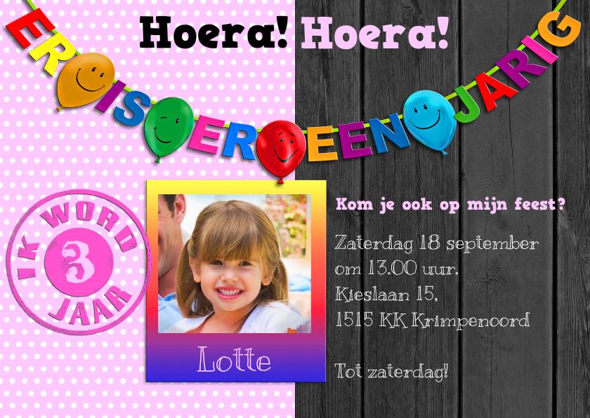 Kinderfeestjes - Uitnodiging voor feest van meisje met stippen en foto