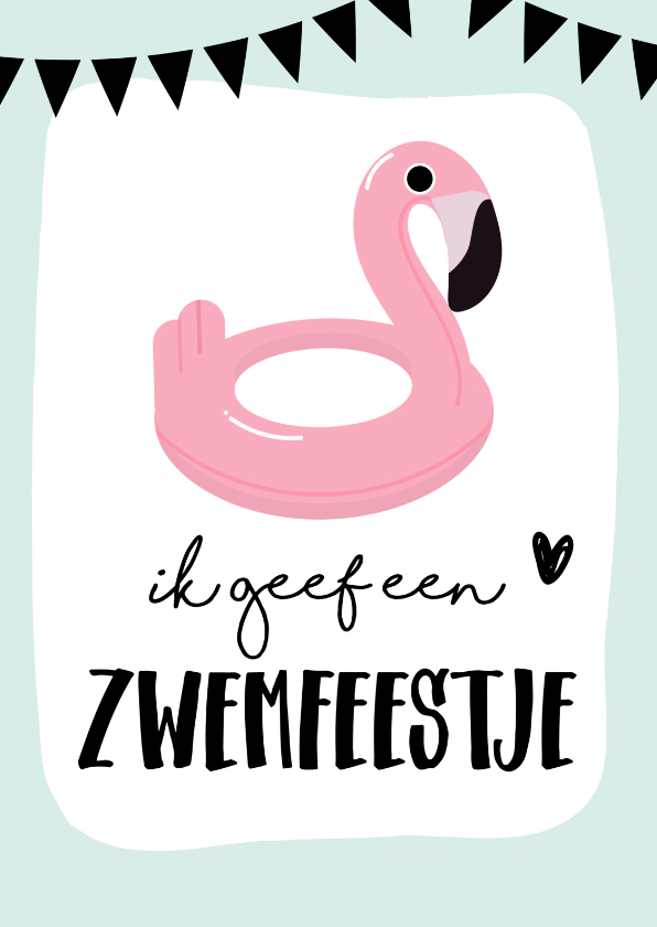 Kinderfeestjes - Uitnodiging zwemfeestje flamingo