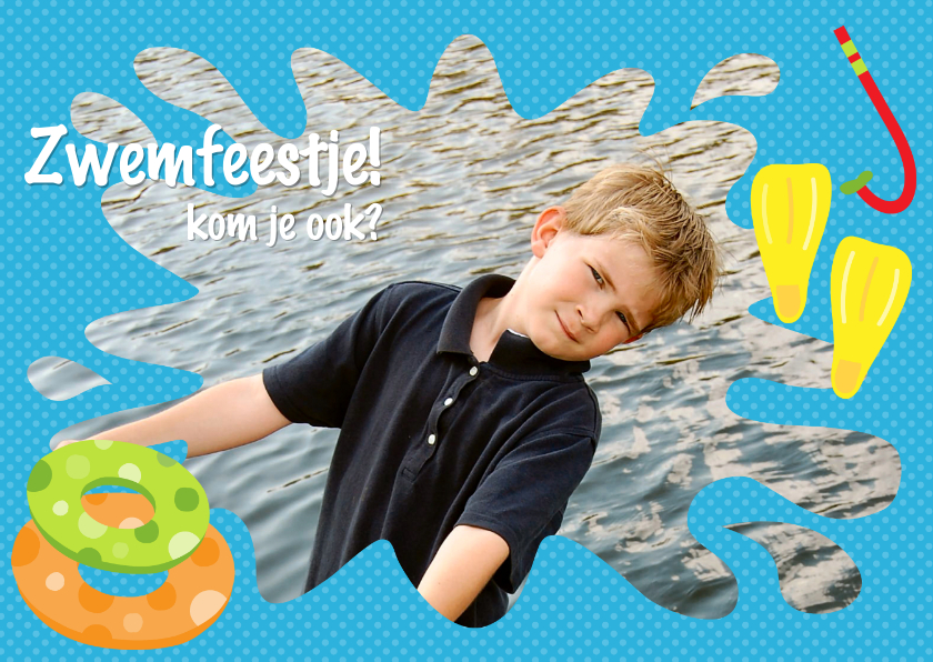 Kinderfeestjes - Uitnodiging Zwemfeestje Jongen