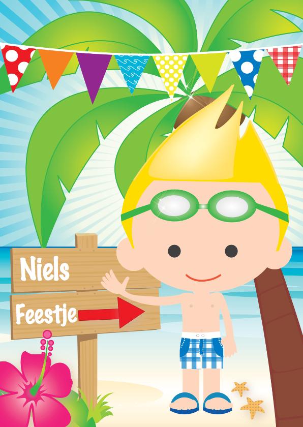 Kinderfeestjes - Uitnodiging zwemfeestje jongetje