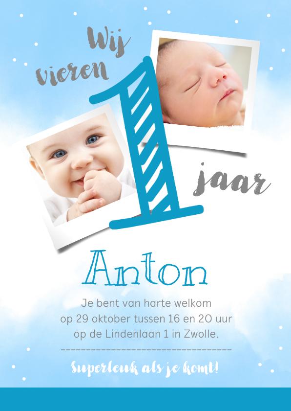 Kinderfeestjes - Uitnodigingskaart 1 jaar blauw met eigen foto's