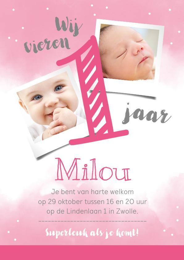 Kinderfeestjes - Uitnodigingskaart 1 jaar roze met eigen foto's