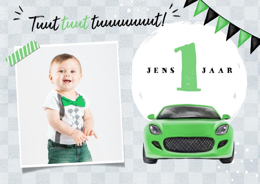 Kinderfeestjes - Uitnodigingskaart kind 1 jaar auto groen vlaggen foto