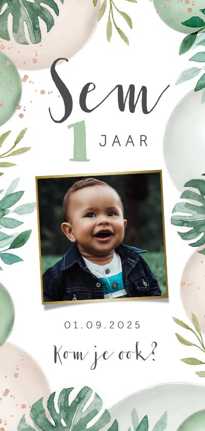 Kinderfeestjes - Uitnodigingskaart kinderfeestje ballonnen jungle foto