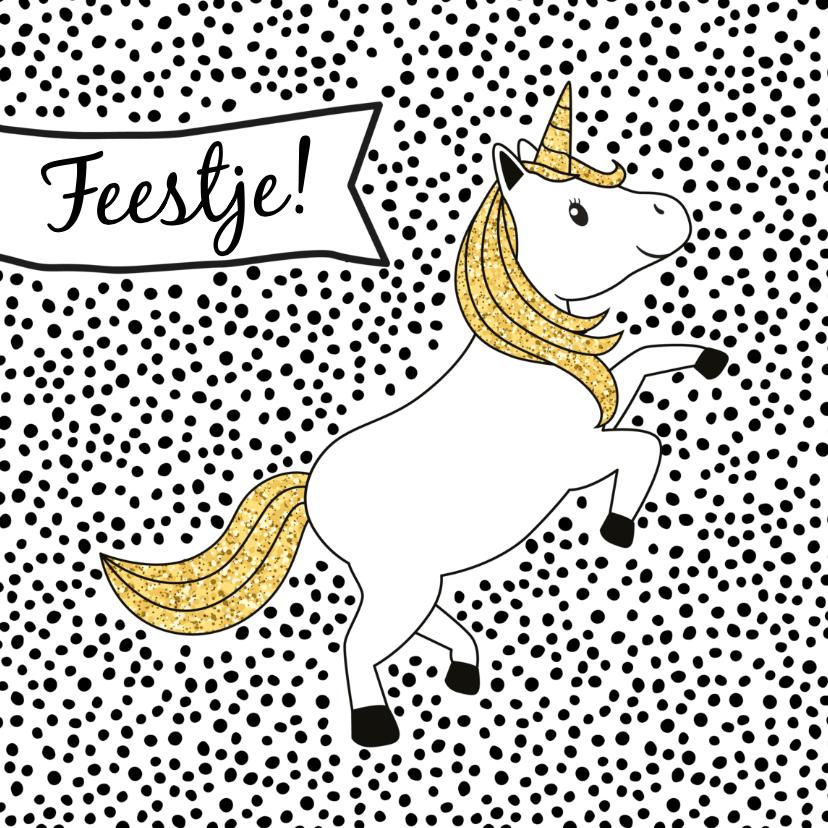 Kinderfeestjes - Uitnodigingskaart kinderfeestje 'Unicorn'