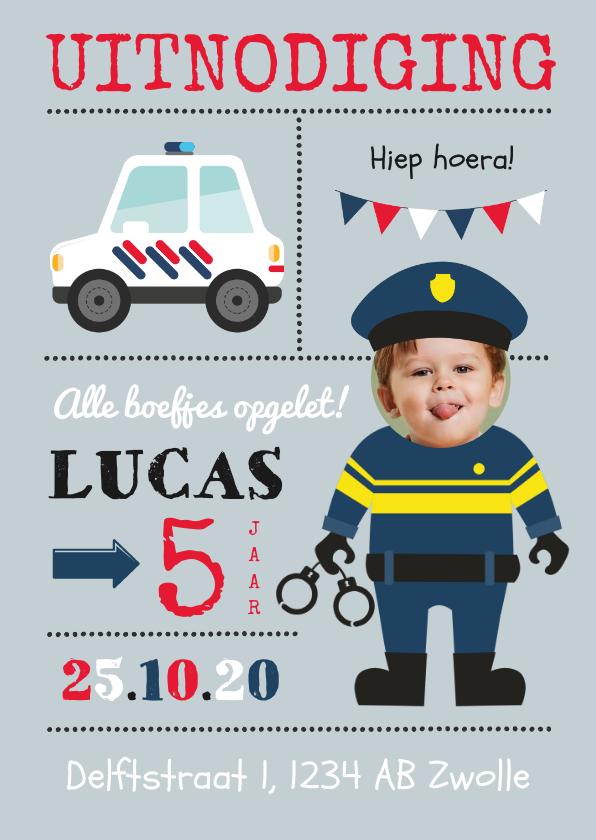 Kinderfeestjes - Uitnodigingskaart politie kind kinderfeestje agent slingers