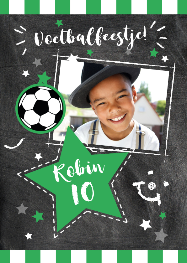 Kinderfeestjes - Uitnodigingskaart voetbalfeestje met foto