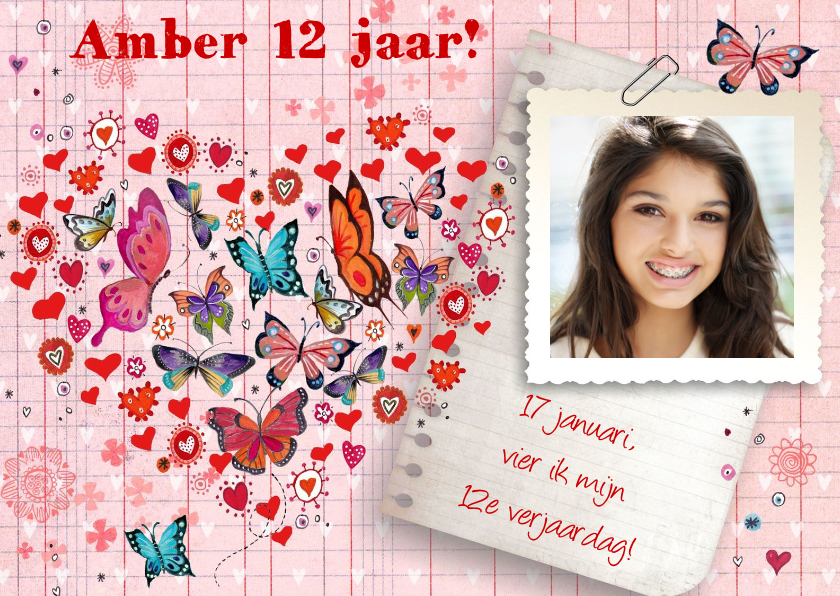 Kinderfeestjes - Verjaardag FEEST meisje Hartje Vlinders