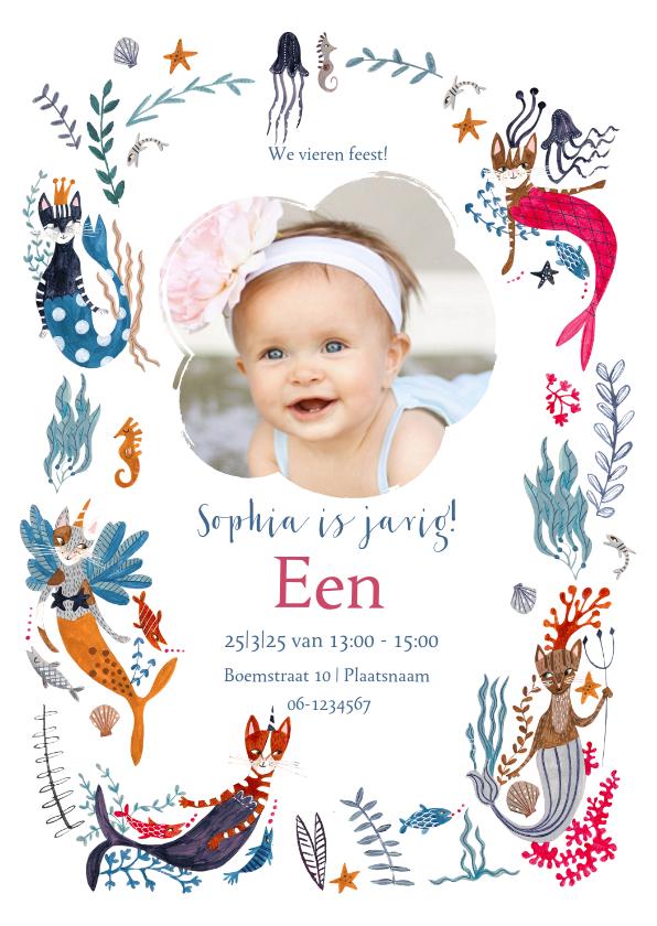 Kinderfeestjes - Verjaardags uitnodiging Caticorn en Mercats