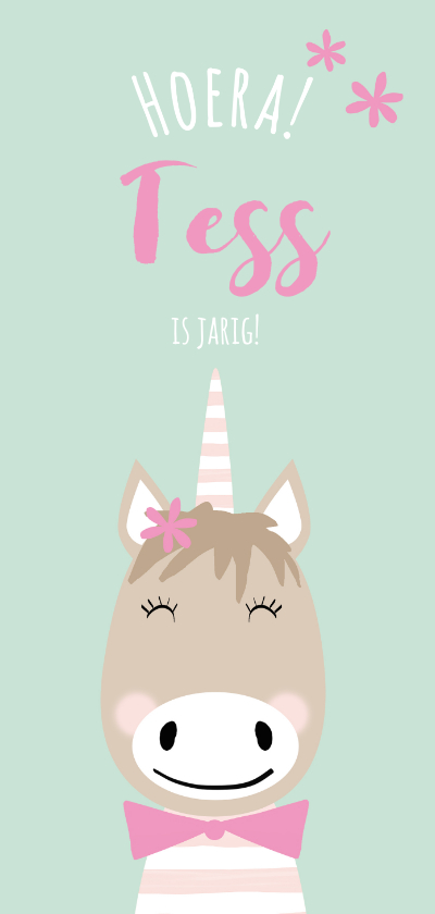 Kinderfeestjes - Vrolijke uitnodiging kinderfeestje meisje unicorn