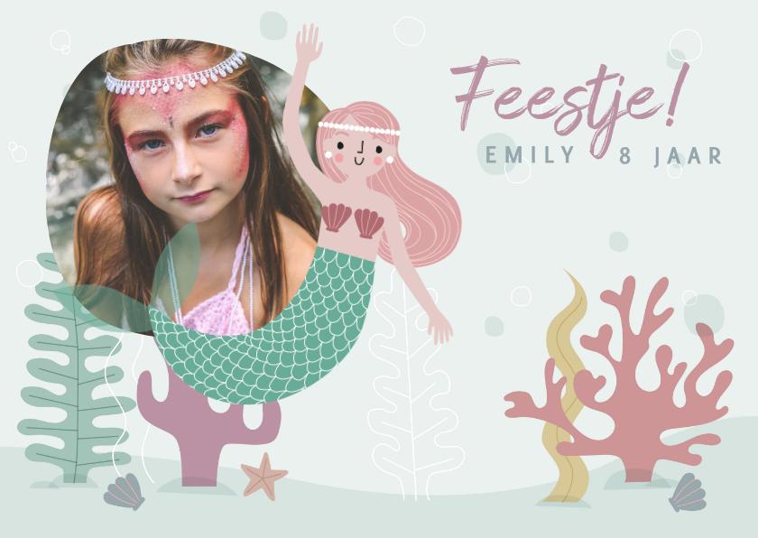 Kinderfeestjes - Vrolijke uitnodiging kinderfeestje met zeemeermin & plantjes