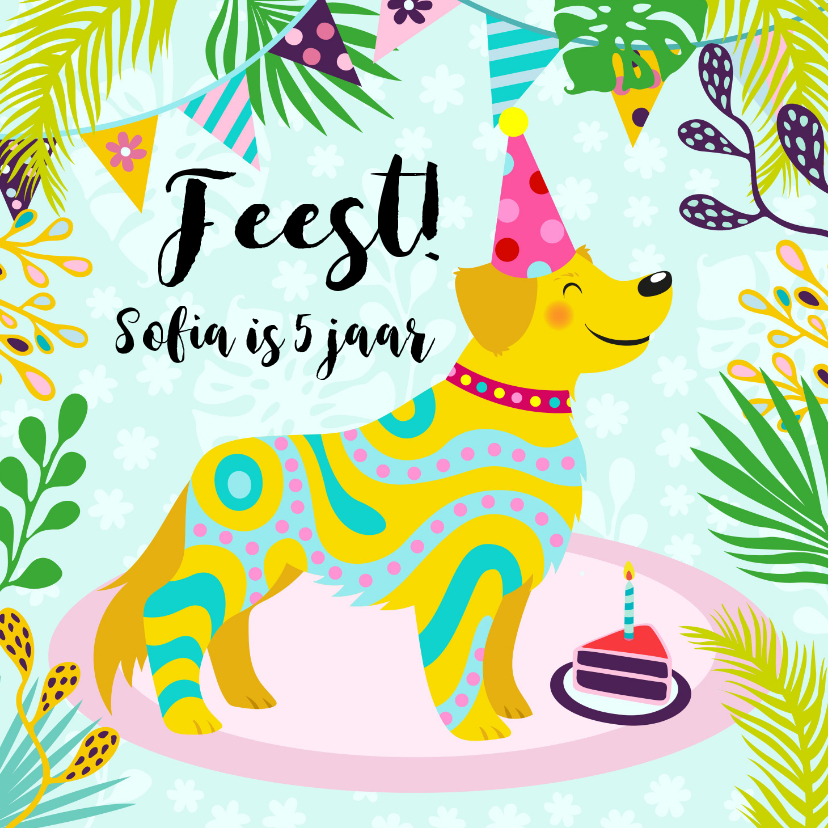 Kinderfeestjes - Vrolijke uitnodiging voor kinderfeestje met een hond en foto