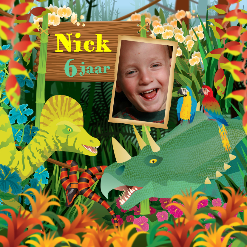 Kinderfeestjes - YVON dinosaurus foto jongenskaart
