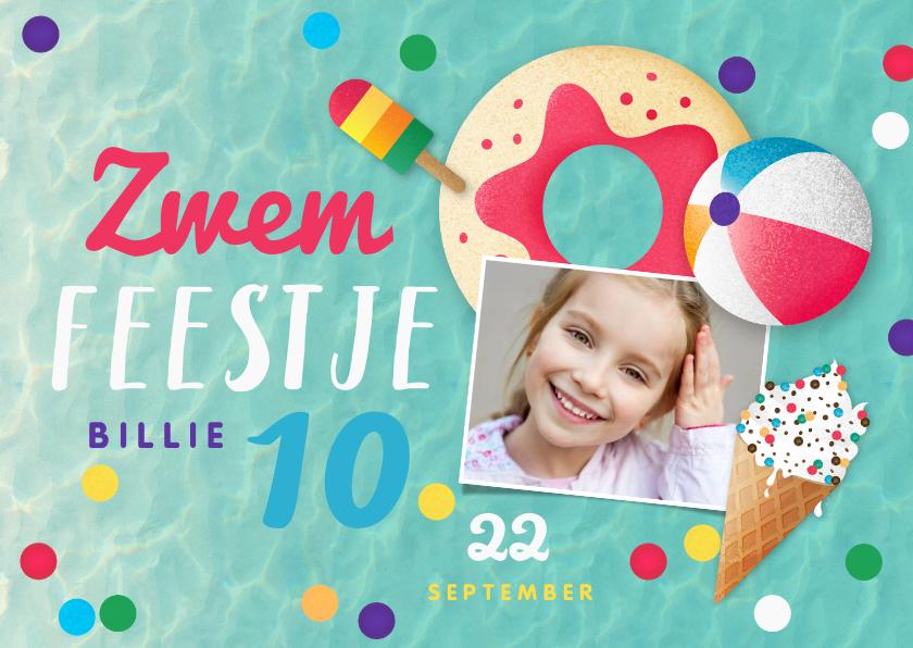 Kinderfeestjes - Zwemfeest meisje vrolijk kleurrijk confetti ijsjes foto