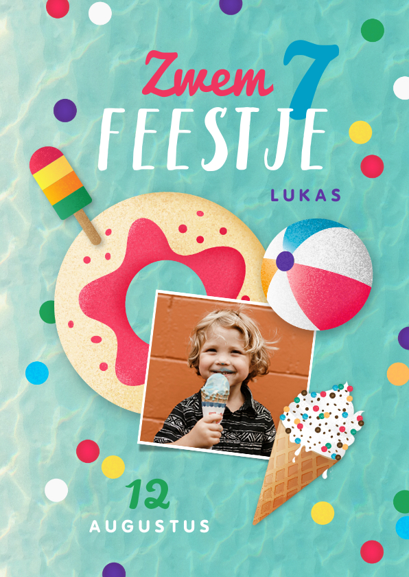Kinderfeestjes - Zwemfeest tropisch vrolijk kleurrijk confetti ijsjes foto