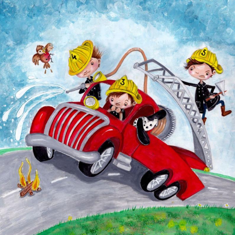Kinderkaarten - Brandweer Auto Illustratie
