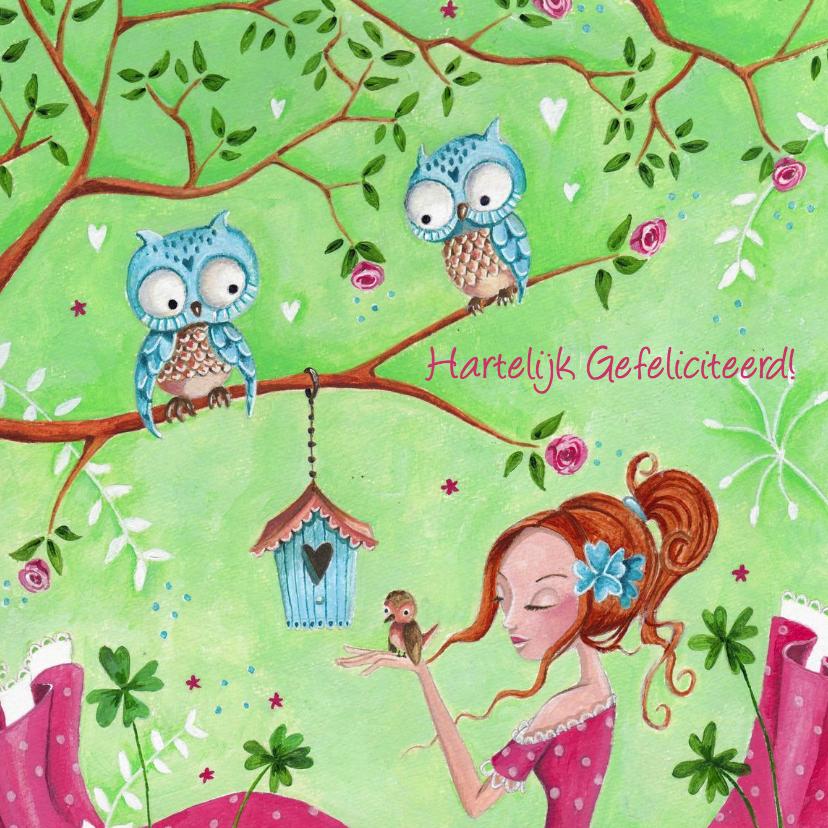 Kinderkaarten - Jarig meisje Vogel Uil Illustratie