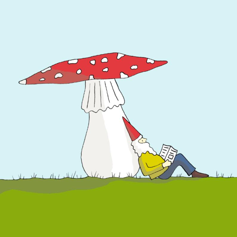Kinderkaarten - Kabouter onder een paddenstoel