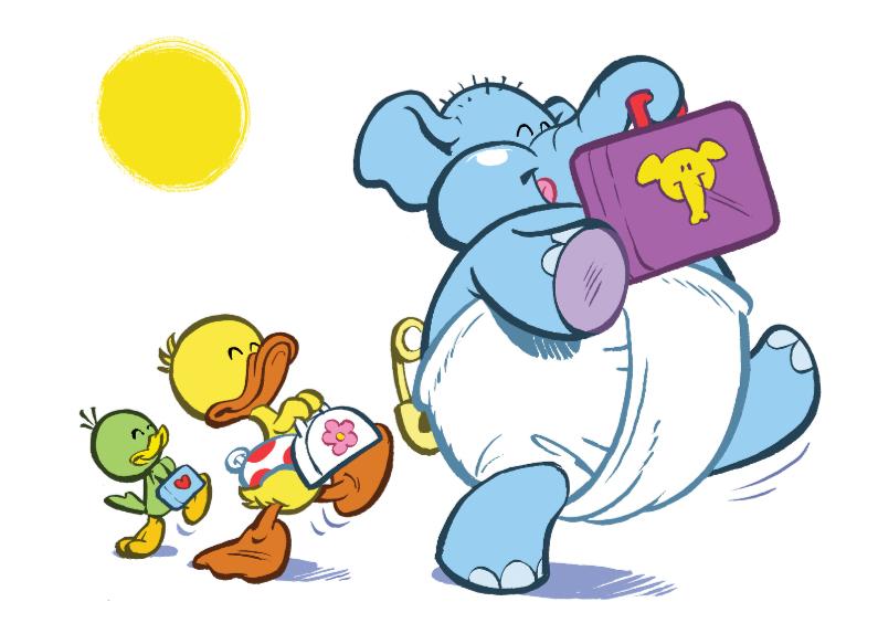 Kinderkaarten - Kinderkaart eend Guusje naar school