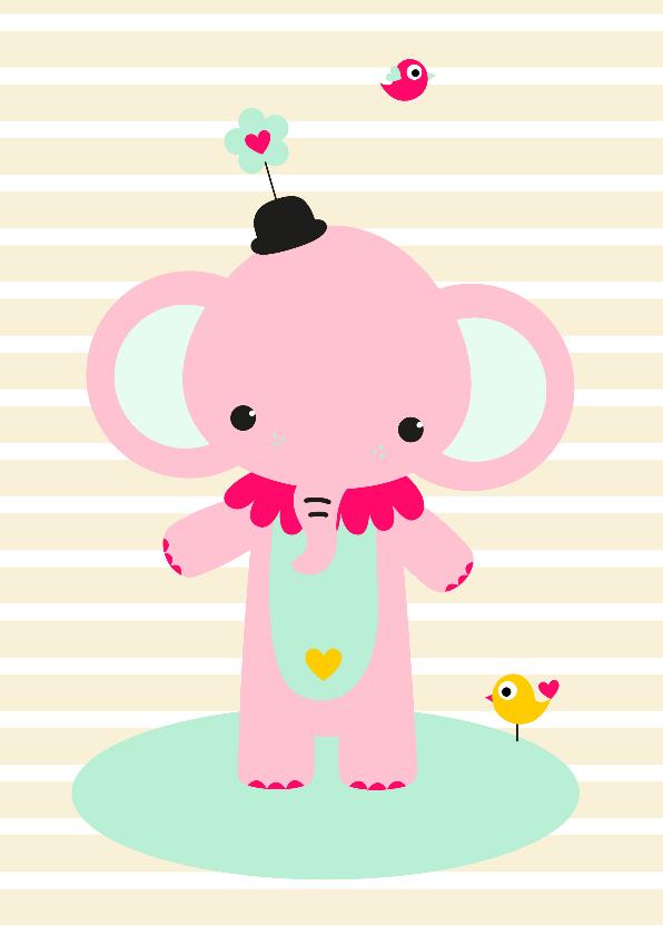 Kinderkaarten - Kinderkaart - Olifantje circus