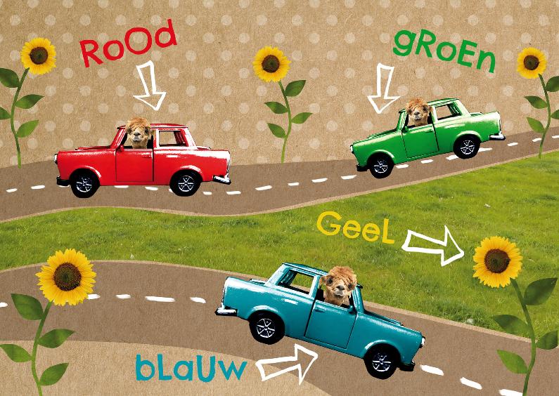 Kinderkaarten - Kinderkaart retro auto's kleuren