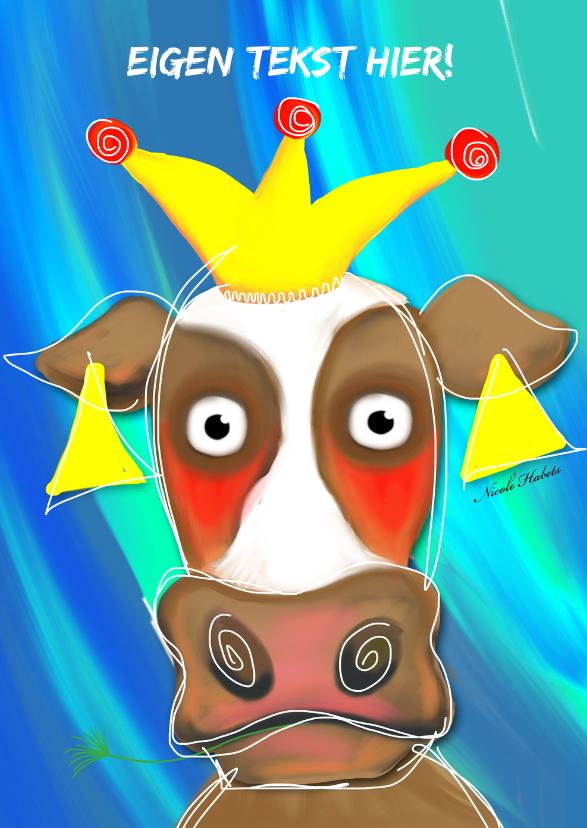 Kinderkaarten - Koe met kroon