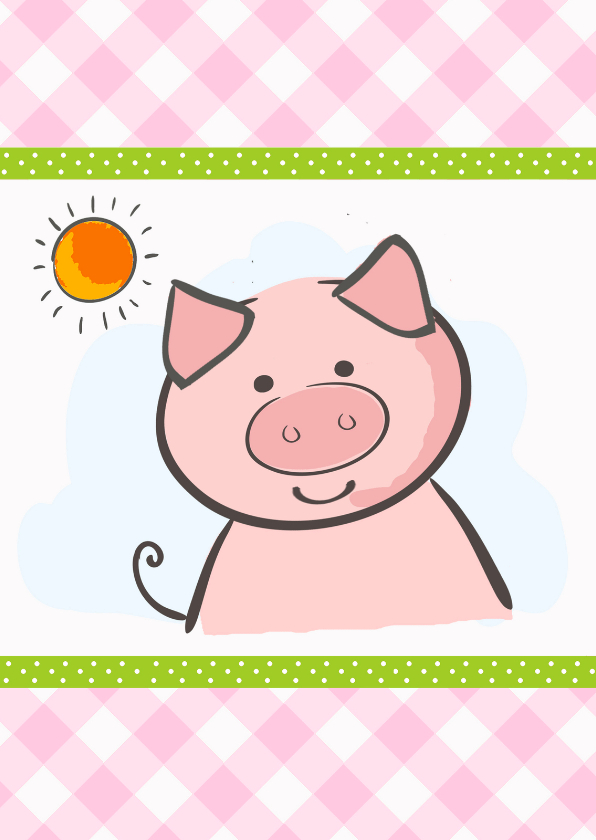Kinderkaarten - Leuke kinderkaart met varkentje