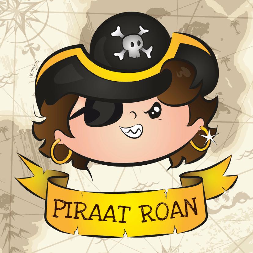 Kinderkaarten - Piraat met label voor tekst