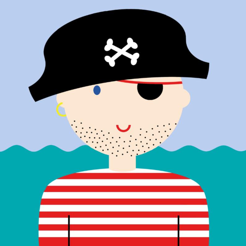 Kinderkaarten - Piraat met stoere stoppelbaard
